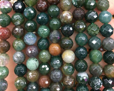 Natural Gemstone Indian Agate Faceted Beads Round Stone Beads 4mm 6mm 8mm 10mm