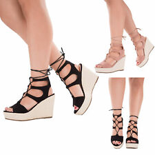 WOMENS LADIES STRAP CANVAS WEDGES LACE UP PLATFORM SANDALS HIGH HEELS SHOES SIZE