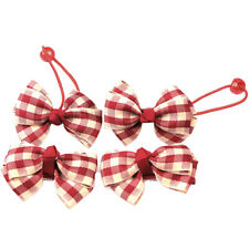 Plaid 2pcs Girls Ribbon Bow Hair Clip Barrette + 2pcs Elastic Hairband Hair Ties