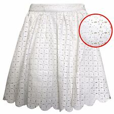 NEW LADIES SCALLOP CREAM PU SKATER SKIRT CUT OUT WOMENS MINI FLARED SKIRTS WORK