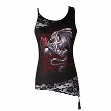 Dragon Rose Lace Splicing Tank Top Goth Grunge Punk Rock Sleeveless Blouse Women