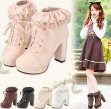 Sweet Womens Lace Up Platform High Heels Cosplay Lolita Ankle Boots Gothic Shoes