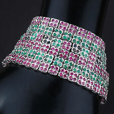 AAA Finest Quality Natural Emerald Ruby Sapphire Bracelet 925 Sterling Silver