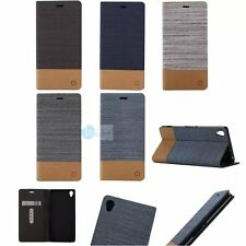 Canvas Leather Flip Card Holder Wallet Stand Case Cover For Sony Xperia Phones