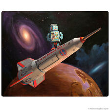 Robot Space Ship Rocket Surfer Wall Decal Retro Sci-Fi Decor