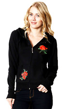 New Junior Size Thin Zip Up Hoodie Roses Patched Sweater S M L 1XL 2XL 3XL