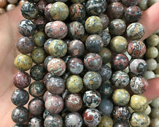 Natural Leopard Jasper Gemstone Beads Red Yellow Beads Round Loose Beads 10mm