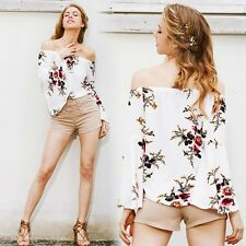 White Boho Floral Prints Womens Off Shoulder Casual Tops Flare Sleeve Blouse