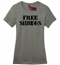 Free Shrugs Funny Ladies Soft T Shirt IDK Dont Care College Humor Gift Tee Z4