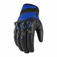 Icon Mens Blue/Black Leather/Textile Konflict Motorcycle Gloves