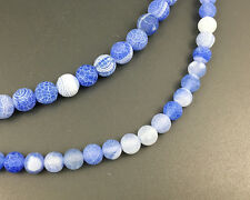 Natural Blue White Frosted Agate Gemstone Beads Round Beads 8mm 10mm 12mm 15''
