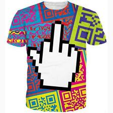Summer NEW Short sleeve Womens/Mens Psychedelic hand 3D Print Casual T-Shirt R29