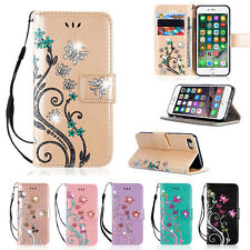 Bling Glitter Flip Leather Wallet Card Magnetic Case Cover For iPhone 6s 7 5s