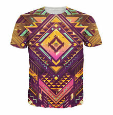 Summer Short sleeve Womens/Mens Psychedelic geometry 3D Print Casual T-Shirt R62
