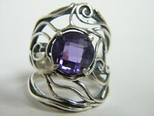 Hand Crafted 925 Sterling Silver SHABLOOL Ring Purple Amethyst cz