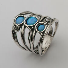 Modern SHABLOOL 925 Sterling Silver Blue lab-created simulated opal Finger Ring