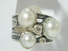 Handmade Sterling Silver 925 mix stones Ring White White CZ Women Ring