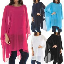 LADIES CHIFFON LINED OVERSIZED BLOUSE TOP WOMENS BATWING KIMONO A-LINE LOOSE FIT