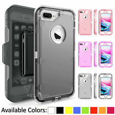 For Apple iPhone 6 6S 7 Plus 8 Plus Defender Clear Case Cover Belt Clip Holster