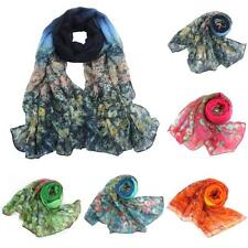 Womens Ladies Flower Voile Stole Scarves Long Neck vintage Wraps Shawl Scarf