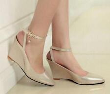 New Womens Spring Pointy Toe Pumps Slingback Ankle Strap Wedge Heel Sandal Shoes