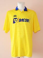 BACOB, VINTAGE YELLOW FOOTBALL JERSEY BY UMBRO, MENS XL, #15 PLAYER ISSUE