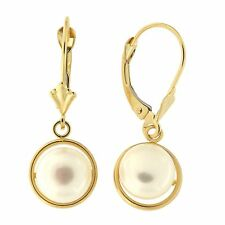 14k Yellow/White Gold Freshwater Cultured Button Pearl Leverback Dangle Earrings