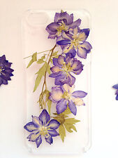 Pressed Flowers for iphone 5 5s 5c 6 6s 7 plus Samsung case cover purple w leaf
