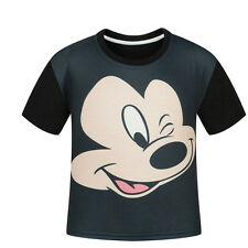 Boys Kids T Shirts Tops Tee Mickey Mouse Summer Short Sleeve T-shirt Child 3-10Y