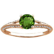 0.75 Ct Round Green Chrome Diopside White Diamond 14K Rose Gold Ring
