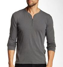 John Varvatos Star USA Men's Long Sleeve 4 Snap Henley Shale Grey $118 msrp NWT