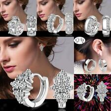 Women Fashion Jewelry 925 Sterling Silver Rhinestone Small Stud Hoop Earrings