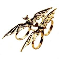 Antique Animal Vampire Flying Bat Wing Cave Two Fingers Adjustable Ring Punk n