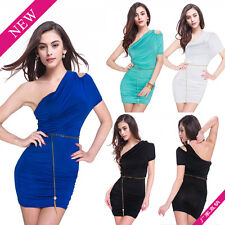 Womens Sexy One Shoulder Evening Dress Party Cocktail Mini Dress Clubwear  D515