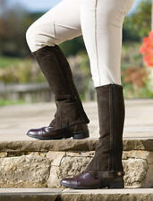 Shires Childs Suede Half Chaps Ripple Elastic Calf Sections Stirrup Strap