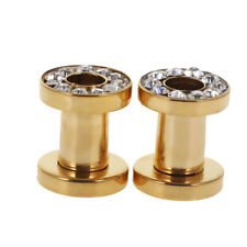 Gold Stainless Steel Screw Ear Plugs Tunnel Expander Stretcher Piercing Earring