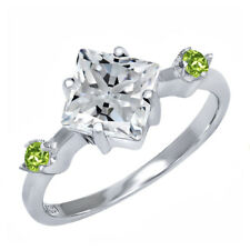 1.78 Ct Princess White Created Moissanite Green Peridot 925 Sterling Silver Ring