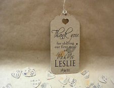 Personalised Wedding Thank You For Sharing Our First Meal Tags Contemporary LBLg