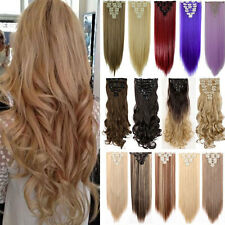 100% Thick Full Head 8pcs Clip in Hair Extensions Straight Curly Long Hairpiece