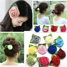 10Color Rose Flower Cloth Hair Clip Flower Brooches Wedding Womans Costume Decor