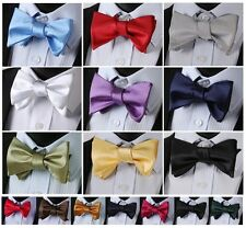 PA Solid Men 100%Silk Woven wedding Party Tuxedo Classic Formal Self Bow Tie