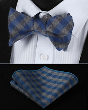 BMC203B Blue Gray Check Men Cotton Self Bow Tie Pocket Square set