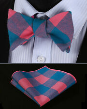 BMC401K Pink Blue Check Men Cotton Self Bow Tie Pocket Square set