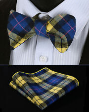 BMC402Y Yellow Blue Check Men Cotton Self Bow Tie Pocket Square set