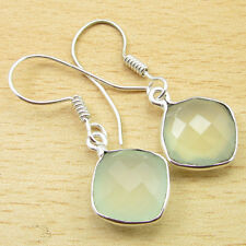 "925 Silver Plated Unseen GREEN SEA CHALCEDONY GEM Earrings 1.4"" NEW"