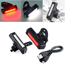 8cm USB Chargeable 6Mode Bright/Flash LED Bicycle Bike Front Rear Tail Light us