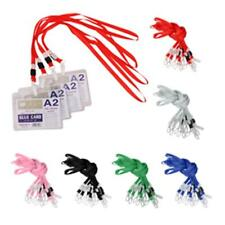 10 x Polyester Lanyard ID Badge Holder Case Neck Strap String With Plastic Clasp