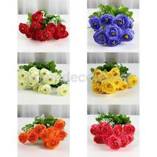 Artificial 11-Head Camellia Silk Flower Bouquet Wedding Home Party Decor