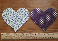 Iron On Fabric Applique Large Hearts x 2 Shabby Chic Floral/Dotty 11cm High