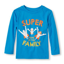 """NWT The Childrens Place Boy """"Super Runs in the Family"""" Blue Long Sleeve Shirt 2T"""